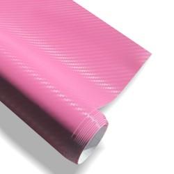 Film carbone rose, 152 x 200 cm, structure 3D, avec technologie de pose sans bulles, autocollant, PVC
