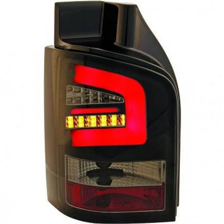 Set 2 Feux arrières design barre à led noir fumé pour VW T5 - TRANSPORTER - CARAVELLE - MULTIVAN (03-09) avec HAYON