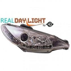 SET DE DEUX PHARES AVANT DESIGN A LED PEUGEOT 206 (98-08) - MOD 3 - CHROME - R87