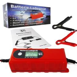 Chargeur Démarreur de Batterie Intelligent 6/12 Volts pour Auto, Moto, Quad & Bateau - 4 Ampères - IP65 - Écran LCD